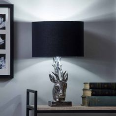 Wilko Silver and Black Stag Head Table Lamp E14 Led, Stag Head, Led Candles, Shades Of Black, Living Spaces, Table Lamp, Room Decor, Display
