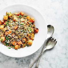 Tray-roast squash, sweet potato and grain salad