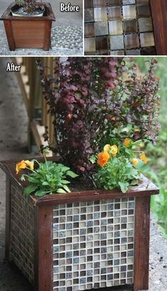 make a tiled garden container planter for frugal upscale decor container gardening diy flowers gardening how to perennial This simple wooden container was transformed int. Diy Garden Decor, Garden Art, Garden Design, Home And Garden, Garden Crafts, Garden Beds, Diy Wooden Planters, Garden Planters, Wooden Garden