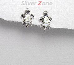 Cercei broscuta testoasa din argint cu scoica shiva 11-1-i33102