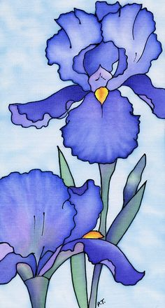 """Blue Irises"" by Pauline Townsend So pretty. Painted silk."