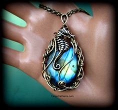 Seahorse Lagoon Labradorite Wire Wrapped pendant by TangoCatGems, $100.00