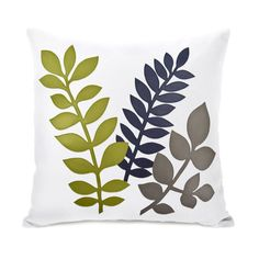 Woodland decorative pillow cover - Modern apple green, navy blue and grey tree leaves applique on white fabric - 16x16 accent pillow
