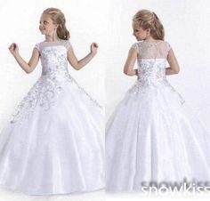 Cristais beading luxo juniors vestidos de festa crianças beauty pageant vestidos bela branco/marfim longo sheer pescoço vestidos de baile de tule