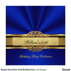 "Elegant Royal blue Gold Birthday Party Mens Mans 5.25"" Square Invitation Card"