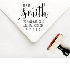Mr and Mrs Stamp - Custom Wedding Address Stamp - Wedding Invitation Stamp - Wedding Return Address Stamp - Personalized Address Stamper by SouthernPaperAndInk on Etsy