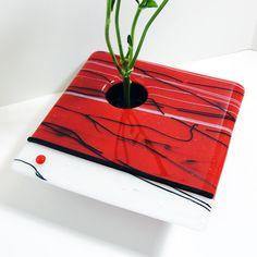 Fused Glass Ikebana Vase Art Glass Asian Style Red by sljglass, $44.00