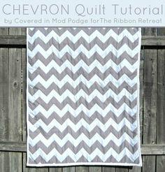 Easy Chevron Quilt Tutorial - Use Chevron FABRIC! {The Ribbon Retreat Blog}