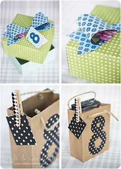 Creative gift wrapping. DIY boxes and gift bags.