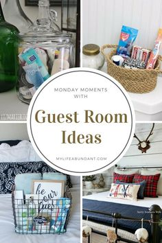 Guests coming to visit for the holidays? Take a look at a few ideas of how to prepare your guestroom and holiday decorating. Guest Bedroom Decor, Guest Room Office, Room Ideas Bedroom, Guest Bedrooms, Guest Room Baskets, Guest Basket, Guest Room Essentials, Small Guest Rooms, Diy Home Interior