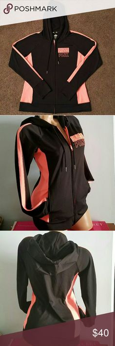 Pink by Victoria's Secret Ultimate Jacket NWT Med Victoria's Secret pink ultimate trsck jacket with hood. Full zip. Black with bright Coral accents. PINK Victoria's Secret Jackets & Coats Utility Jackets