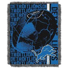 NFL Lions Theme Blanket 46 x 60 Blue Black Football Themed Sofa Throw Collegiate Sports Patterned Team Logo Fan Merchandise Athletic Team Spirit Fan Soft Snuggly Polyester