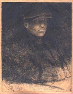 Självporträtt i sportmössa/Self-Portrait in Sport Cap, état I, H. 258, drypoint, London-Stockholm 1927, 248 x 198mm