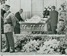 """Marilyn Monroe's funeral took place at 1:00pm on August 8, 1962, at the Westwood Village Mortuary Chapel on the grounds of the Westwood Memorial Cemetery. She was buried in what was known at that time as the """"Cadillac of caskets"""" - a hermetically sealing antique-silver-finished solid bronze """"masterpiece"""" casket lined with champagne colored satin-silk."""