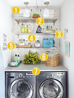 Get This Look: Fresh Laundry Nook   7 Tips for a Stylish Laundry Room No Matter How Small from Remodelaholic.com #laundryroom #decor #getthislook