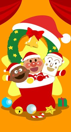 アンパンマンのクリスマス iPhone壁紙 Wallpaper Backgrounds iPhone6/6S and Plus  Adnpanman Christmas