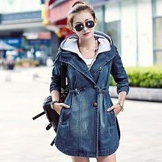 hoodies sottili delle donne lungo cappotto denim - EUR € 23.63