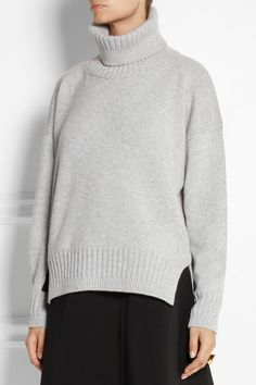 Jil Sander | Leather-trimmed cashmere turtleneck sweater | NET-A-PORTER.COM
