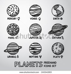 Set of hand drawn planet icons with names and astronomical symbols - mercury, venus, earth, mars, jupiter, saturn, uranus, neptune, pluto. Vector