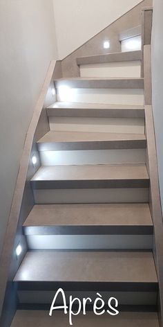 Escaliers r nov s Photos Avant Apr s Escal Concept Basement Remodel Diy, Basement House, Basement Stairs, Basement Remodeling, Stairway Lighting, Stairs In Living Room, Flooring For Stairs, Painted Stairs, Staircase Design