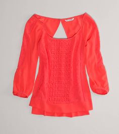 American Eagle Eyelet Chiffon Top in Neon Pink.