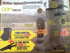 This is a new promotion from the French market. In the Ducatillon's catalog, we have a double promotion from Browning, the Aerican Hunting specialist. Promotional Bags, Browning, Hunter Boots, Rubber Rain Boots, Shoes, Hunting, Boots, Zapatos, Shoes Outlet