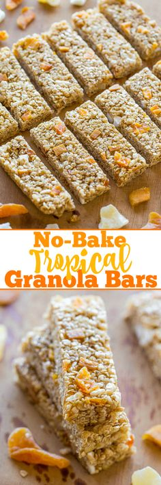 Make w craisins? No-Bake Tropical Granola Bars - Soft, chewy, easy, and ready in minutes! No baking or nut butter necessary! You won't miss storebought granola bars after tasting how AWESOME homemade bars are! Chewy Granola Bars, Homemade Granola Bars, Healthy Bars, Healthy Treats, Healthy Eating, Yummy Treats, Clean Eating, Brunch Bar, Snack Recipes