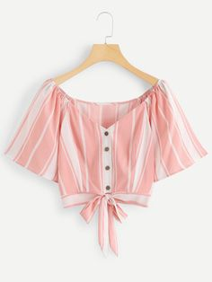 SheIn offers Striped Single Breasted Knot Hem Blouse & more to fit your fashionable needs. – Source by clotpin - Girls Fashion Clothes, Teen Fashion Outfits, Girl Fashion, Girl Outfits, Clothes For Women, Crop Top Outfits, Cute Casual Outfits, Casual Dresses, Vetement Fashion