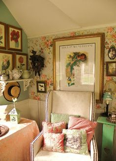 Brambly: A Visit To Bitty Brambles ~love this reading area, so pretty and so inviting~