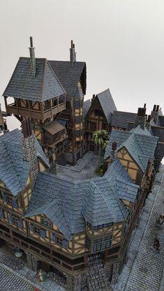 Providence - Medieval City Port Miniature - by Chris Da Silva Choisir meubles qui Medieval Houses, Medieval Town, Medieval Fantasy, Fantasy City, Fantasy House, Fantasy Miniatures, Dollhouse Miniatures, Planet Coaster, Building Concept