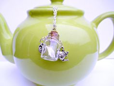 Teapot and tiny teabag with real tea charm necklace by WhimsyJig, €14.00