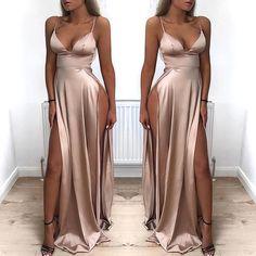 Low Cut High Slit Maxi Slip Dress