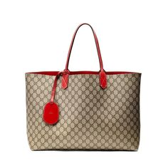 Gucci reversible GG tote  brand new with dustbag  GG monogram on one side  solid red on the other  asking $989  comment for more information or to purchase this item