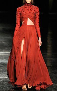 Bordeaux Hand-Draped Chiffon Gown by Prabal Gurung for Preorder on Moda Operandi