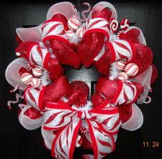 Peppermint Deco Mesh Christmas Wreath by FortWorthFlair