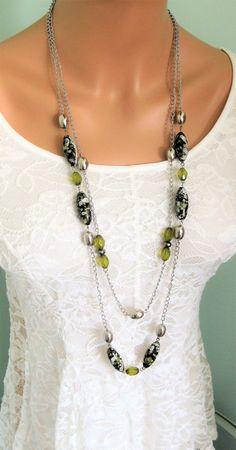 Verde lungo collane di perline collane di di RalstonOriginals