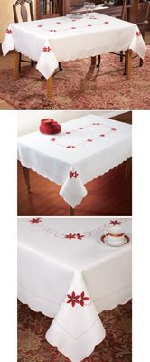 Embroidered Holiday Poinsettia Table Cloth