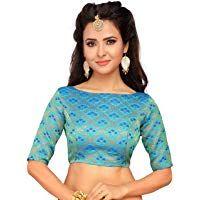 Blue New Readymade Blouse Indian Women/'s  Brocade Saree Blouse with Boat Neck Sari Choli Shirt Elbow Sleeves Sari Blouse Saree Choli