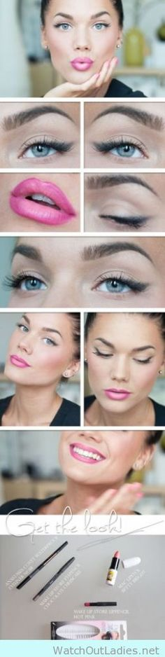 How to wear bright pink lipstick tutorial