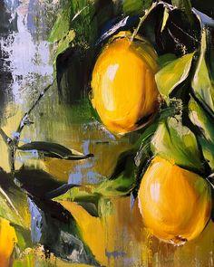 Image may contain: plant, outdoor and water Lemon Painting, Fruit Painting, Still Life Art, Fruit Art, Acrylic Art, Art Oil, Art Inspo, New Art, Amazing Art
