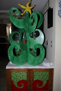handmade WhoVille tree -- cardboard, spraypaint, exacto knife ...