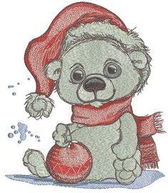 Polar bear with Chrsitmas ball machine embroidery design. Machine embroidery design. www.embroideres.com #winter #scarf #snow #Christmasballs #animal #cute #holiday #smile #Santahat #polar #bear #embroidery #embroideres