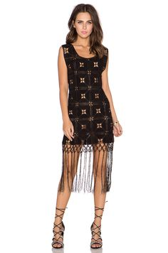 GLAMOROUS Printed Fringe Dress in Black | REVOLVE