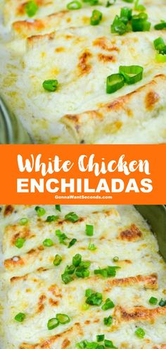 White Chicken Enchiladas (With Video!) *NEW* Amazing white chicken enchiladas with homemade sour cream white sauce–No Soup. It is easy to make super creamy and cheesy to boot, Mexican food! White Sauce Enchiladas, White Chicken Enchiladas, Mexican Enchiladas, Homemade Enchiladas Chicken, Sour Cream Enchilada Sauce, Best Chicken Enchilada Recipe, Cheesy Enchiladas, New Recipes, Dinner Recipes