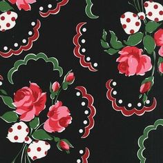 Michael Miller House Designer - Retro Florals - Francie in Black....thinking this is a One Block Wonder candidate!