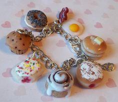breakfast theme polymer clay charm bracelet by ScrumptiousDoodle, $30.00