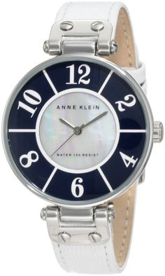 #Anne #Watch , Anne Klein Women's 10/9985NVWT Leather Navy Blue And White Dial Silver-Tone White Leather Strap Watch...$55.00
