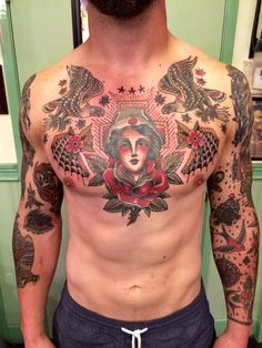 mens traditional chest tatoos - Google Search