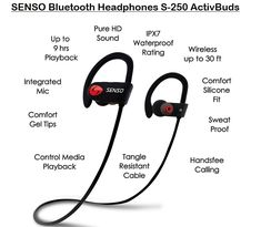 SENSO Bluetooth Headphones Best Wireless Sports Earphones w/ Mic Waterproof HD Stereo Sweatproof Earbuds for Gym Running Workout 8 Hour Battery Noise Cancelling Headsets *** Continue to the product at the image link. (This is an affiliate link) Cordless Headphones, Bluetooth Headphones, Best Earbuds For Running, Best Noise Cancelling Headphones, Gym, Sports, Amazon, Gel Tips, Sweat Proof