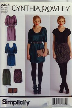 Simplicity 2305 Misses' Dresses and Skirts, Each in Two Lengths and Purse
